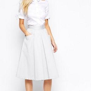 ASOS closet gray pleated midi skirt